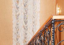 французская функциональная штора на 2 этажа на лестницу из итальянской органзы.