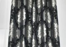 Портьера на люверсах в черной гамме из испанского шинила